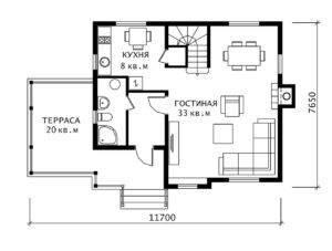 План 1 этажа Альпина-4