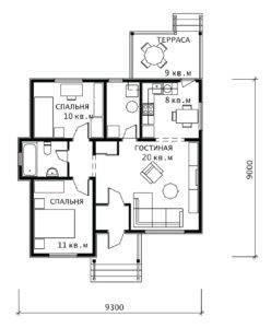 План 1 этажа Василек