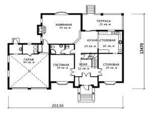 План 1 этажа Веллингтон