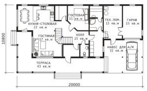 План 1 этажа Усадьба-2