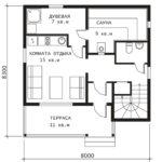 План 1 этажа Дом с сауной