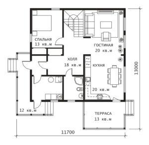 План 1 этажа Вильбон