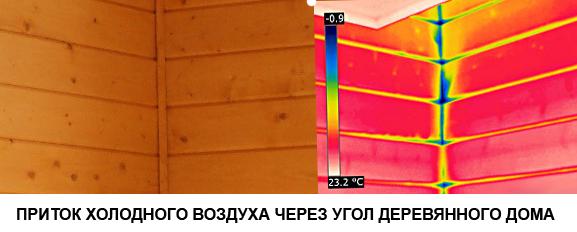 Приток холодного воздуха в тепловизоре
